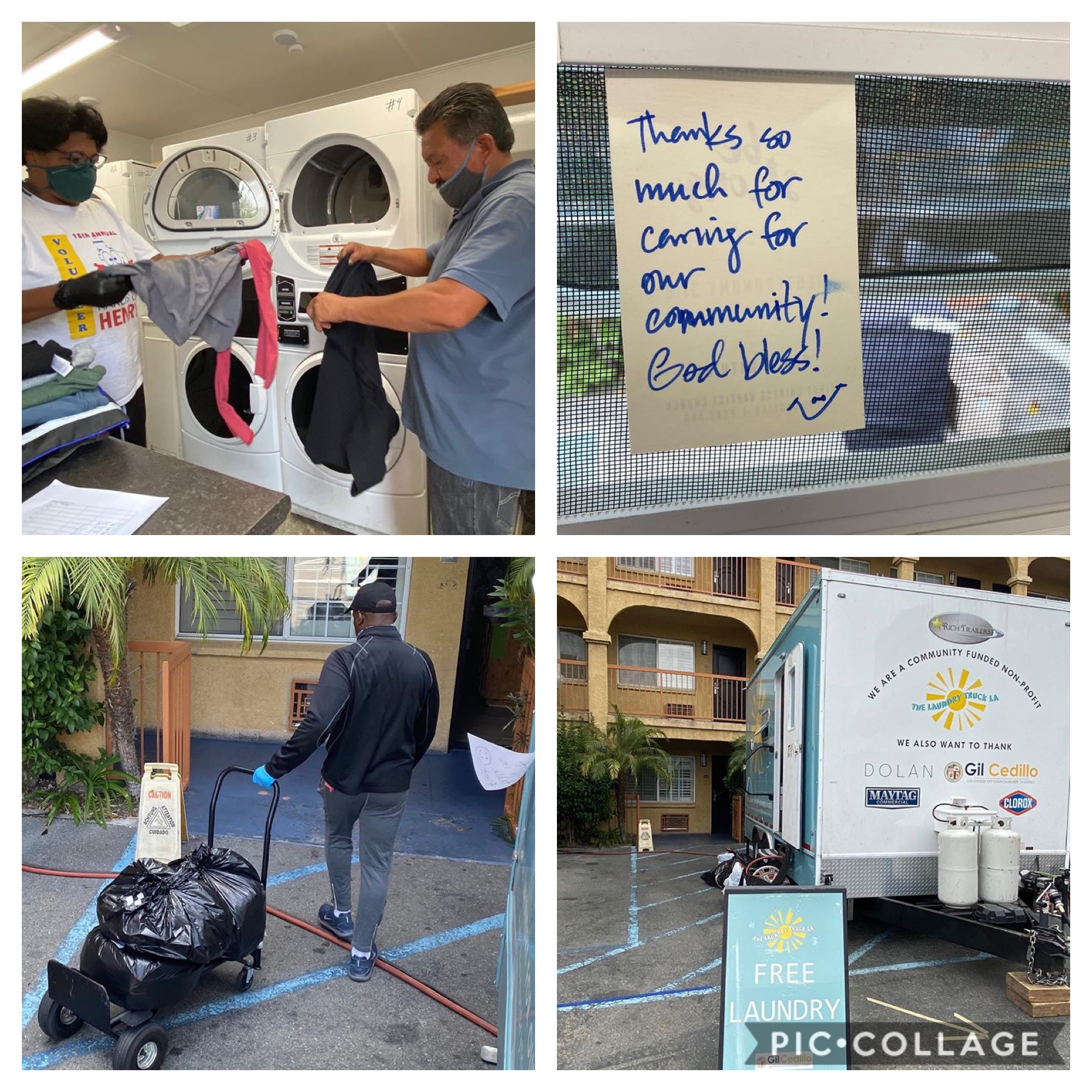 The Laundry Truck LA provided a new Project Room Key site in CD1 6-28-2020 Collage