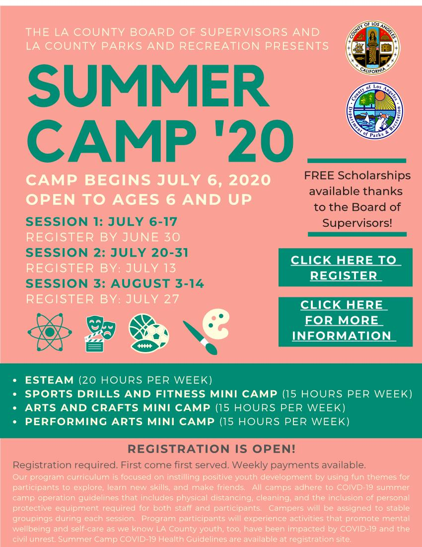 Summer Camp LA County Flyer ENGLISH