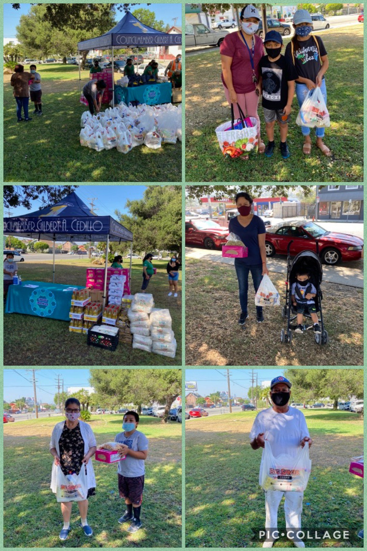 Unidos Por NELA hosted a food giveaway of more than 100 bags of rice, beans, and canned from Big Saver Foods in Cypress Park 7-28-2020 COLLAGE