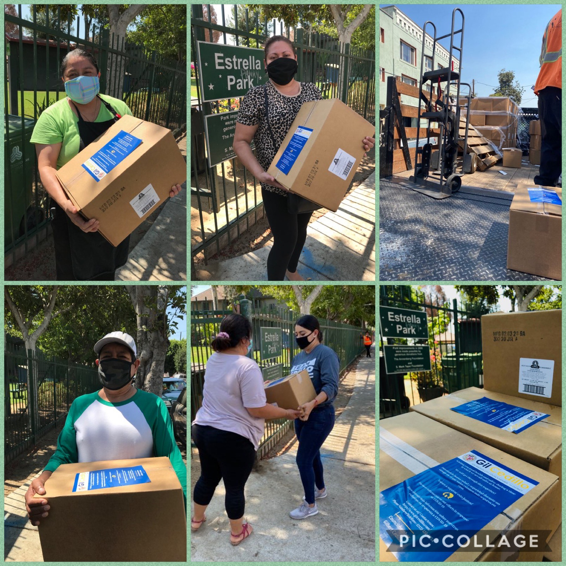 Team Cedillo distributed boxes of produce to constituents in University Park donated by JSL Food Inc. 8-14-2020 COLLAGE