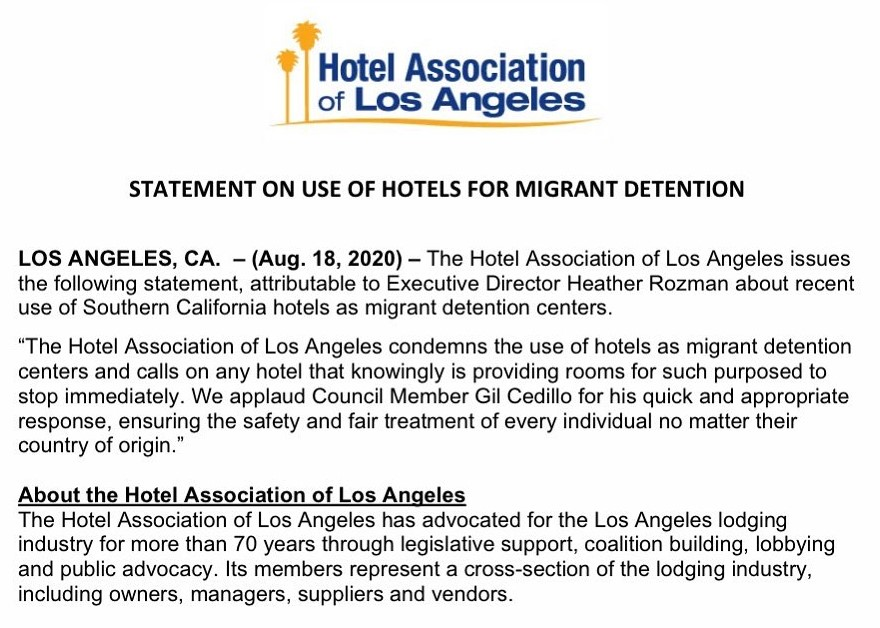 Hotel Association of Los Angeles Statement on Migrant Children Detained in Hotels 8-17-2020 B