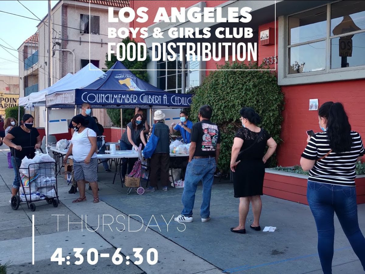 Los Angeles Boy's and Girl's Club Food Distribution Thursdays 4.30-6.30