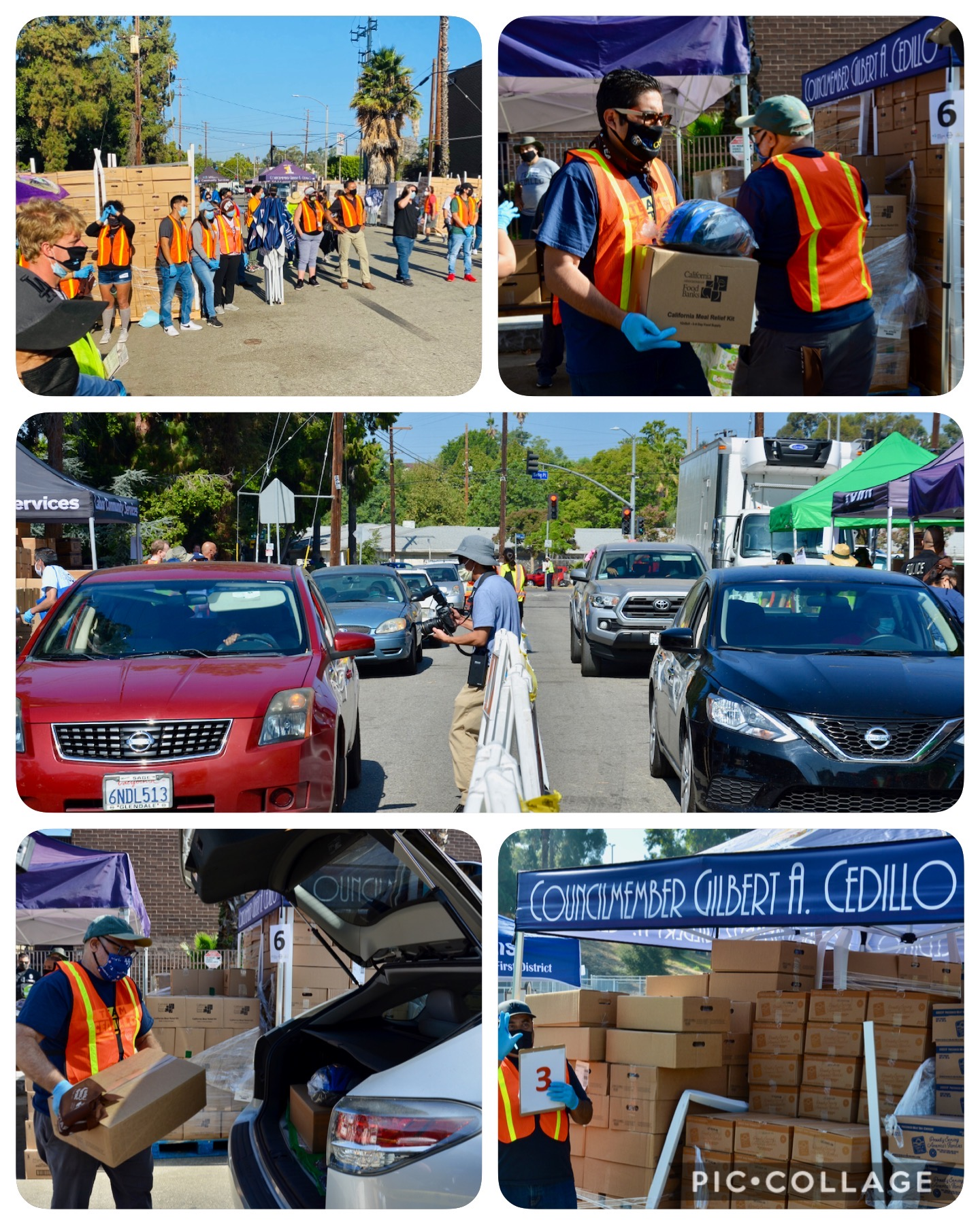 LA Regional Food Bank, LA County Federation of Labor, and Labor Community Services sponsored a food distribution at Lincoln Park 8-29-2020 COLLAGE