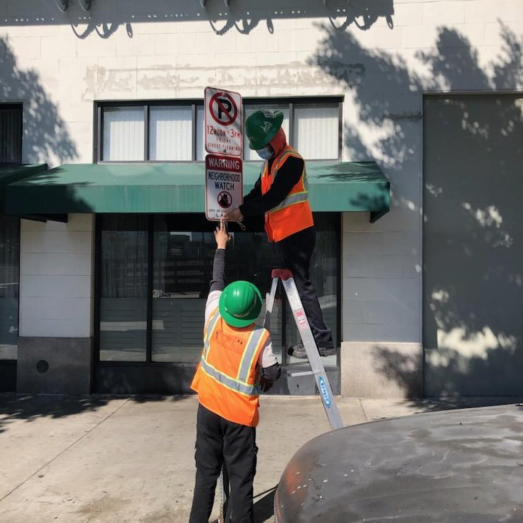 LAPD Rampart and Westlake Protectors installed 20 neighborhood watch signs 3-1-2021 Photo 1