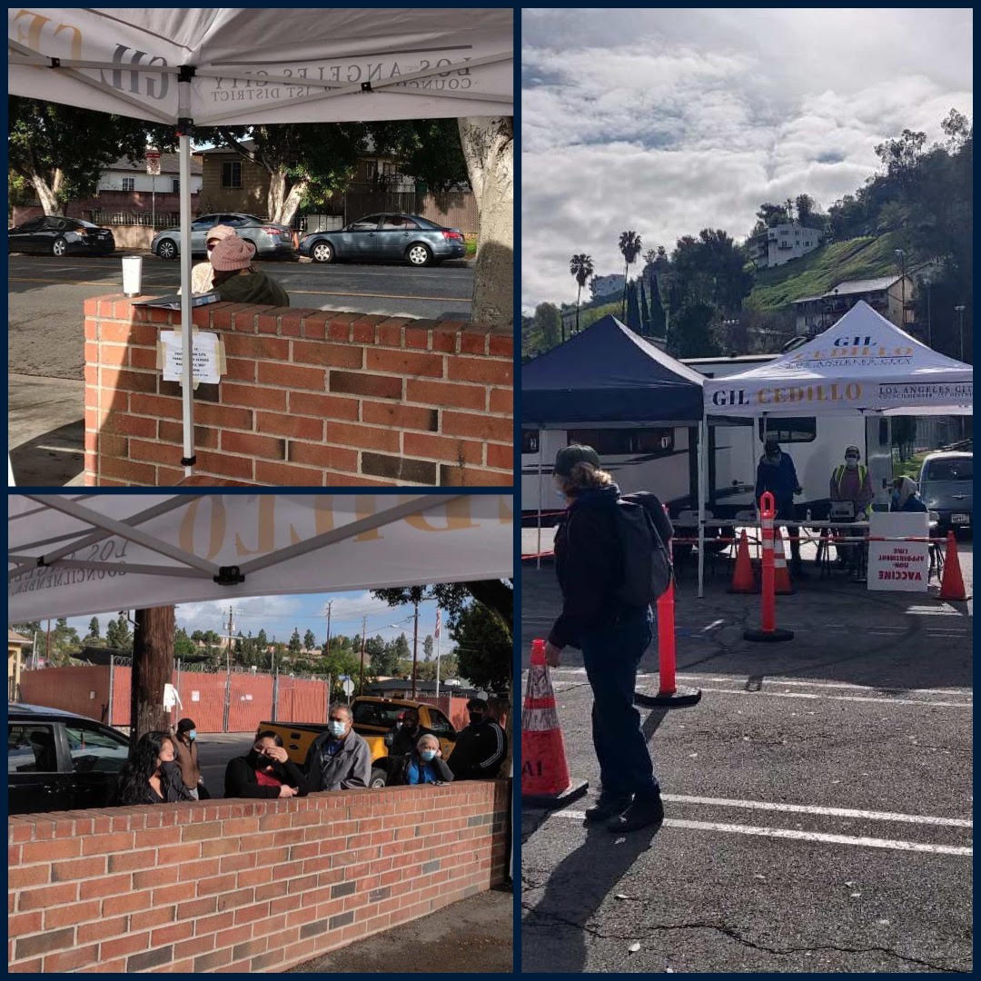 Team Cedillo UP AND RUNNING  in Glassell Park at our Mobile Vaccination Site. With LAFD, CORE and Carbon Health 3-11-2021 COLLAGE