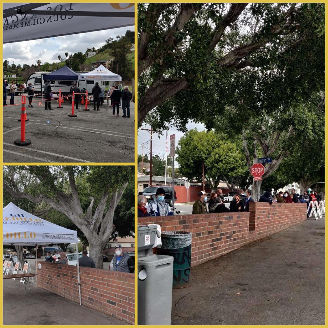 Team Cedillo Vaccination Site at 12 noon still GOING STRONG in Glassell Park 3-11-2021 COLLAGE