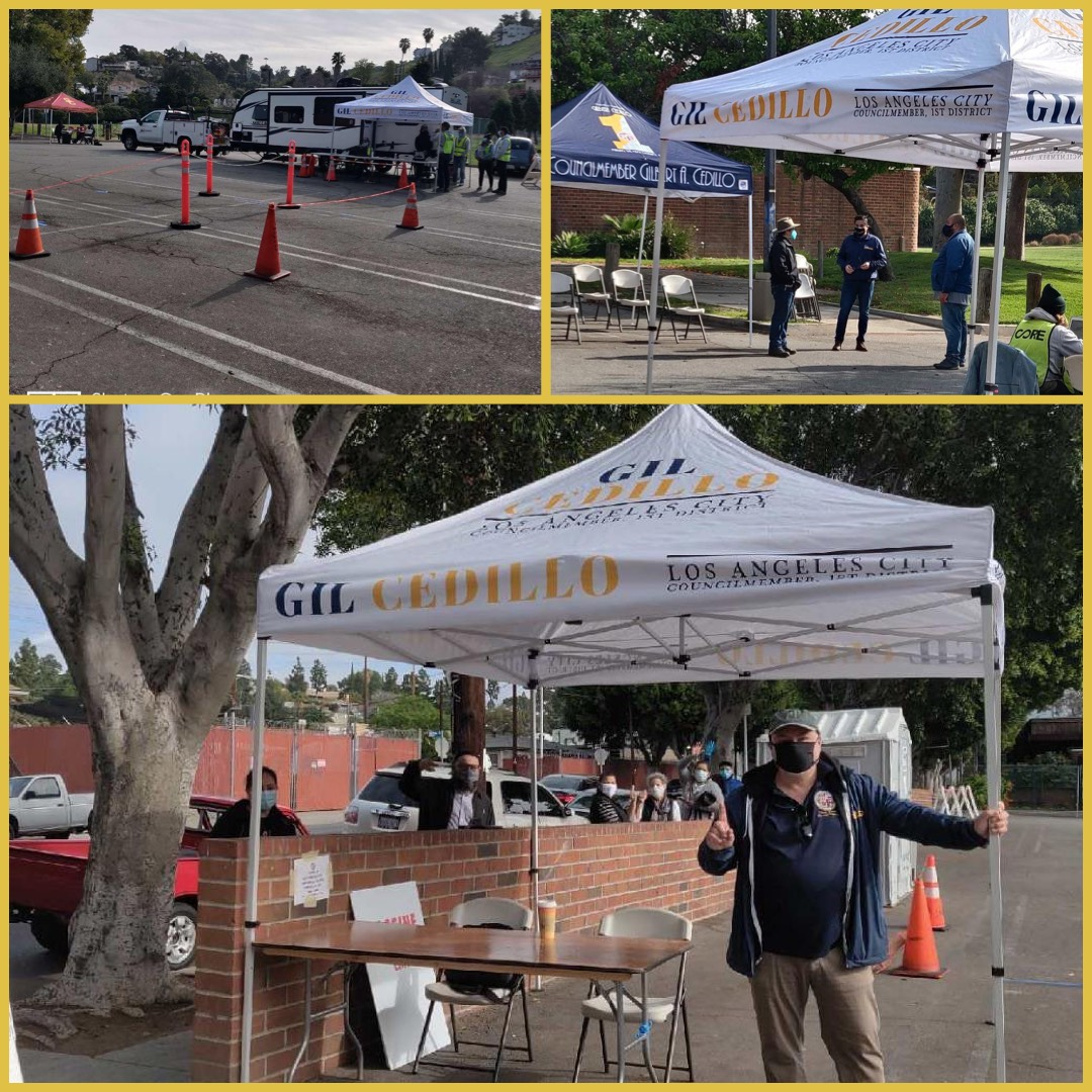 Team Cedillo getting ready to vaccinate constituents in the Northeast with LAFD, Carbon Health, CORE 3-9-2021 Photo COLLAGE