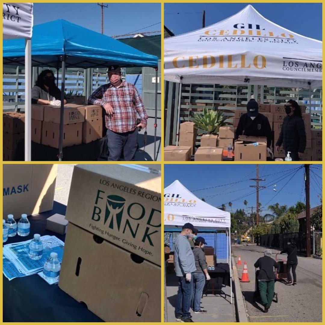Team Cedillo joined Academia Avance & Highland Park Improvement Association to distribute food in Highland Park 3-6-2021 COLLAGE