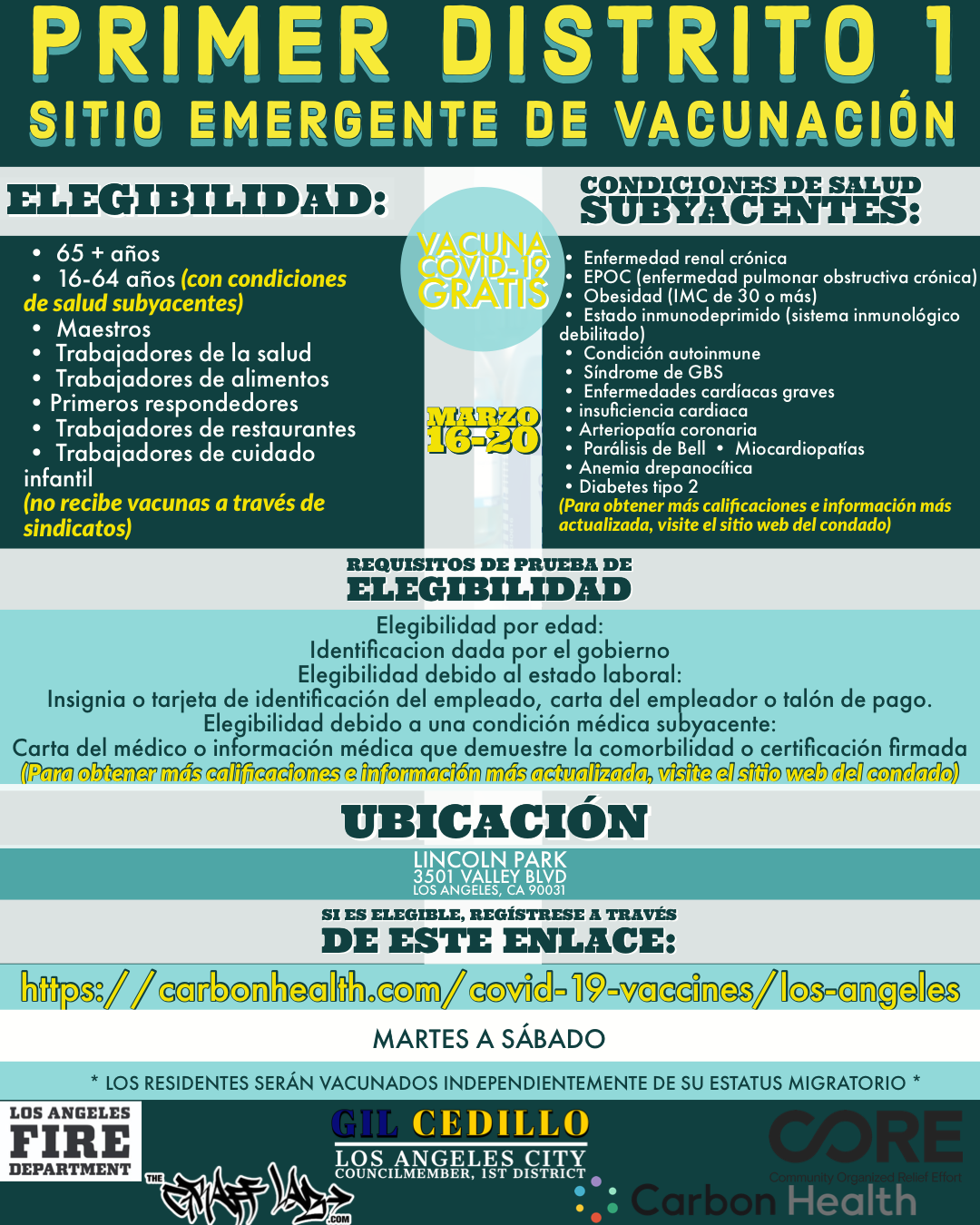 Vaccination Site Flyer - Lincoln Park SPANISH