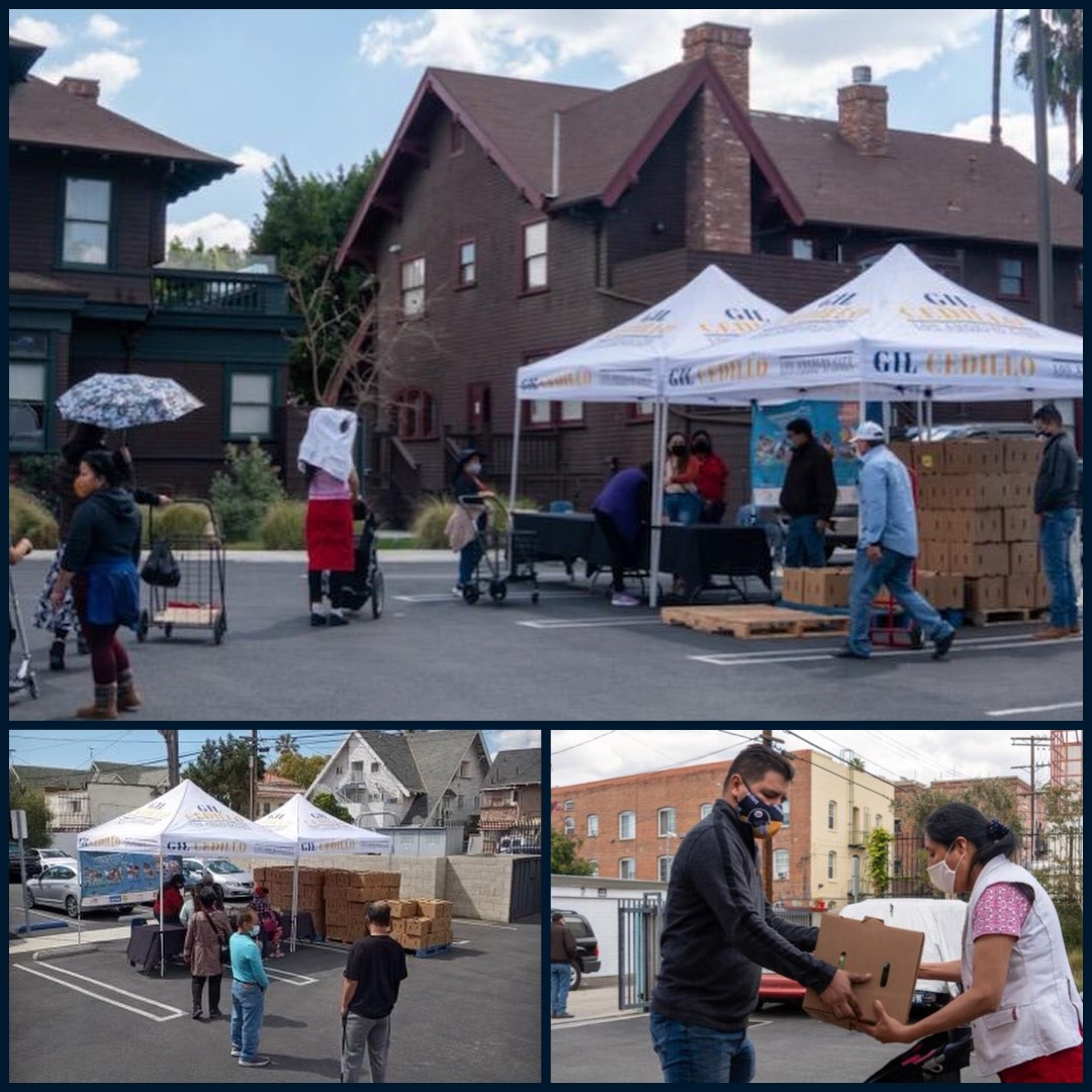 Team Cedillo, CCNP, Pico Union Housing Corporation distributed boxes of groceries to hundreds in Pico Union 3-16-2021 Photo COLLAGE