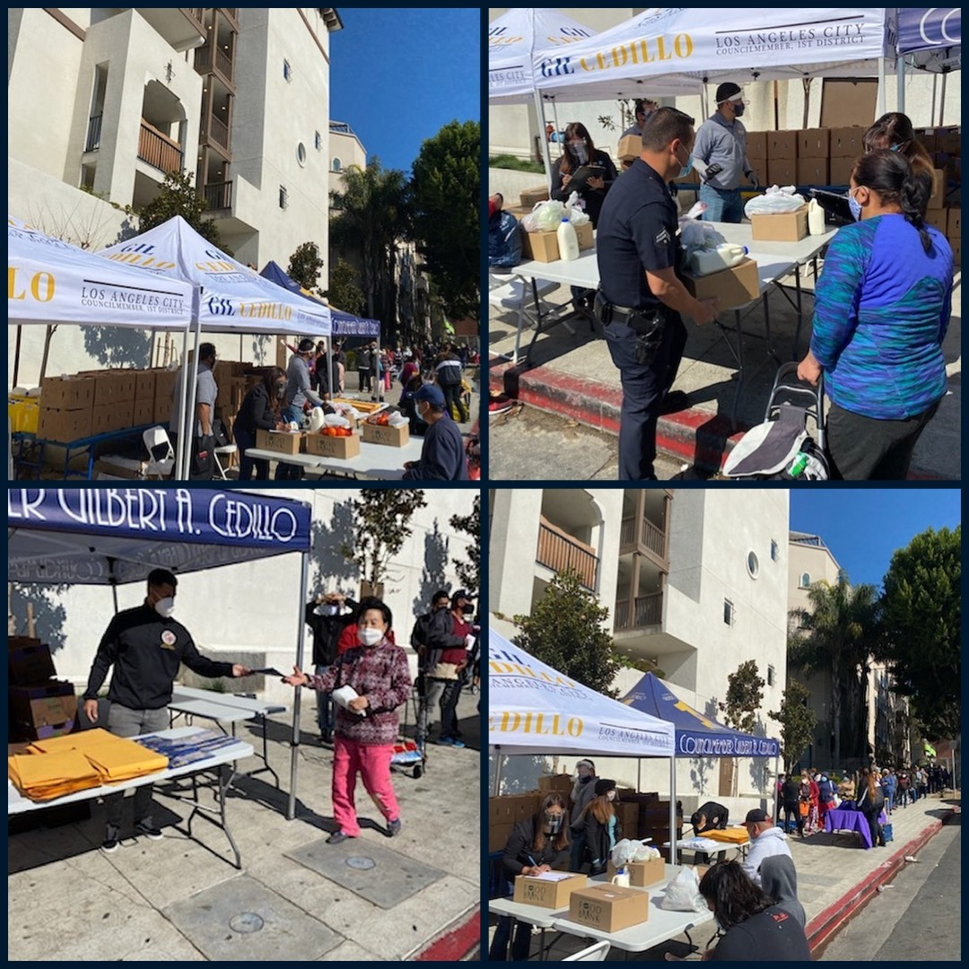 Team Cedillo, CCNP & Bonnie Brae St neighbors distributed boxes of groceries to hundreds in Westlake 3-17-2021 Photo COLLAGE