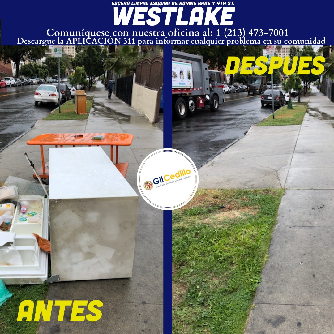 SPANISH Team Cedillo's Strike Team is in full force today, Corner of Bonnie Brae and 4th St. Westlake 3-15-2021