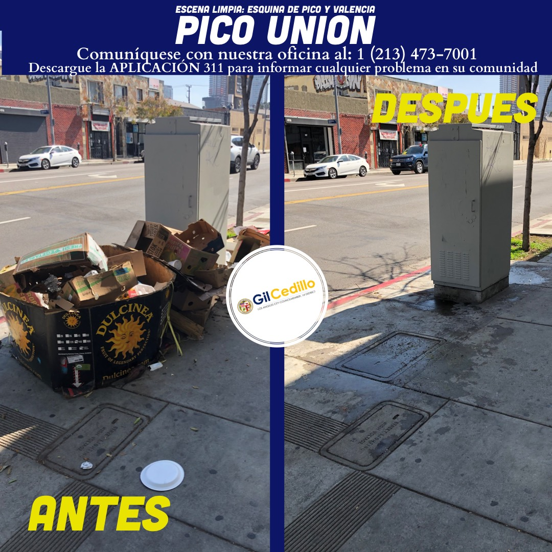 SPANISH Team Cedillo's Strike Team is in full force today, Corner of Pico and Valencia 3-17-2021