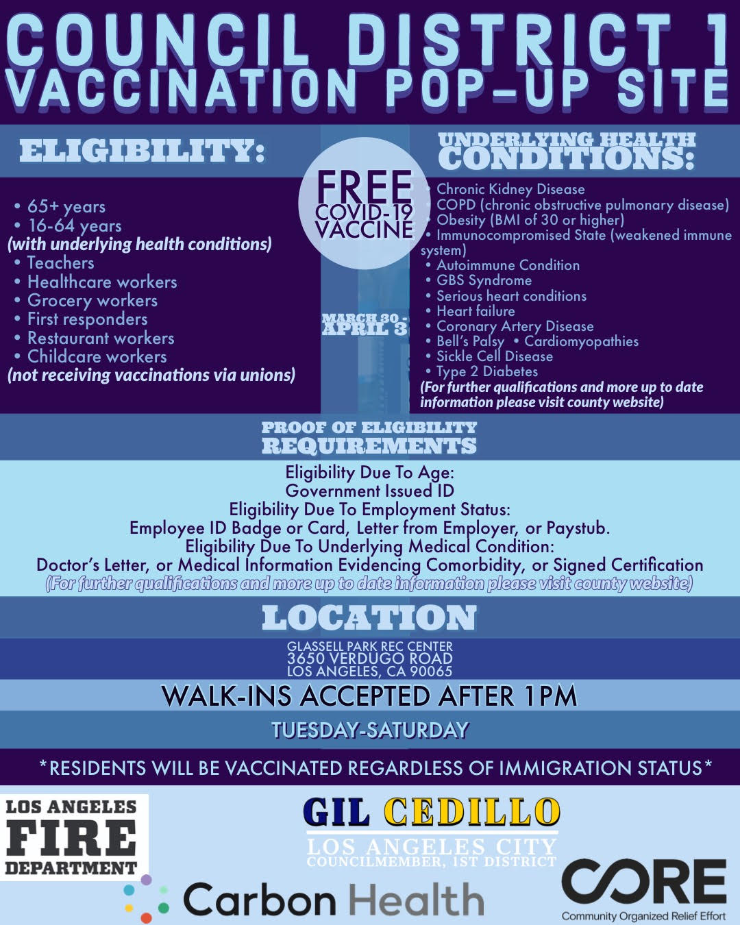 Glassell Park Vaccination Site Flyer March 30-April 3 English