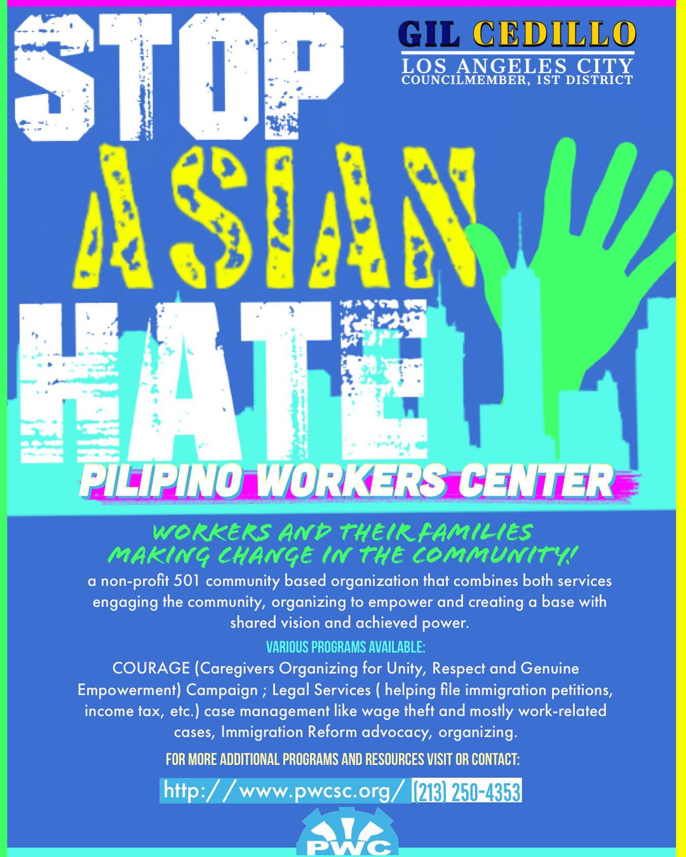 Third Flyer Stop Asian Hate - Pilipino Workers Center