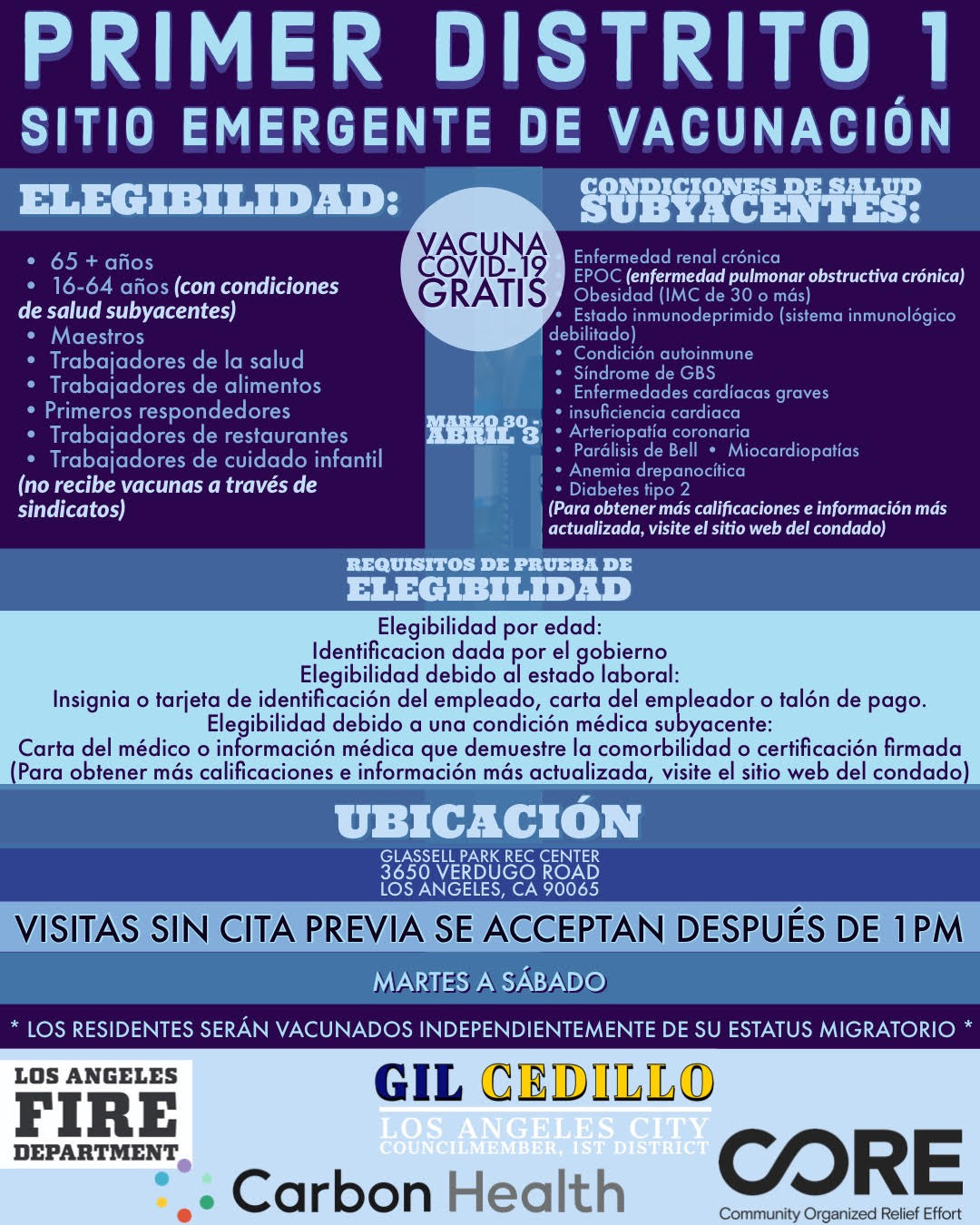 Glassell Park Vaccination Site Flyer March 30-April 3 Spanish