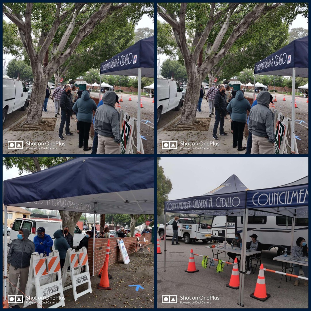 Team Cedillo at the Glassell Park Vaccine Pop Up site in partnership with LAFD, CORE and Carbon Health 4-3-2021 Photo COLLAGE
