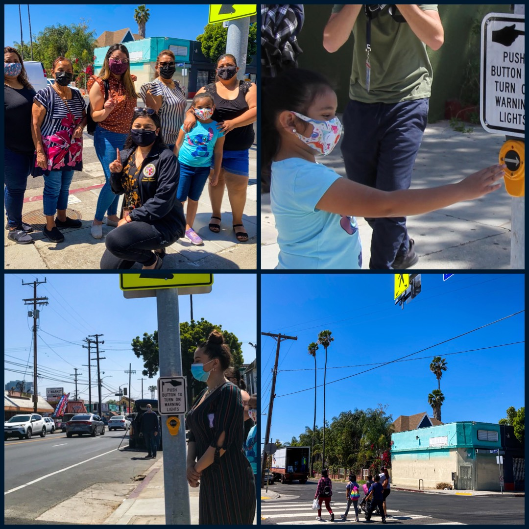 Team Cedillo Switches on New Flashing Beacon on Bonnie Brae St. and Venice Blvd. 4-7-2021 Photo COLLAGE