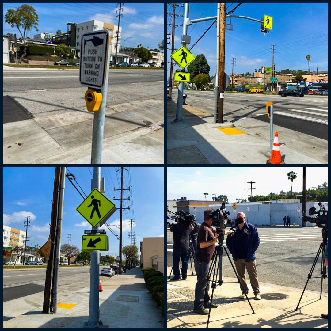 Team Cedillo Turns On the Switch Pedestrian Flashing Beacons Ave 34 & Eagle Rock Blvd. in Glassell Park Photo COLLAGE