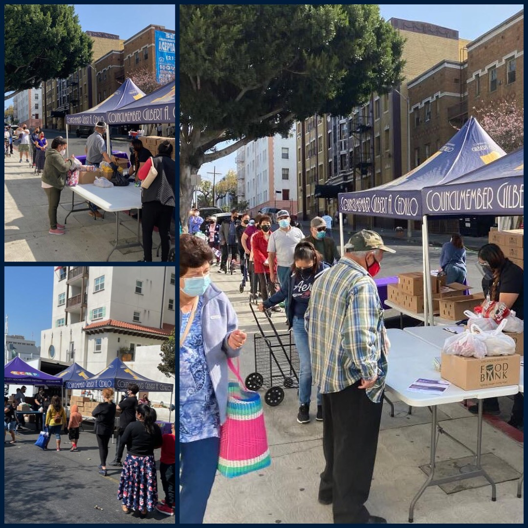 Team Cedillo, CCNP and Bonnie Brae St. neighbors distributed boxes of groceries in Westlake 4-2-2021 Photo COLLAGE