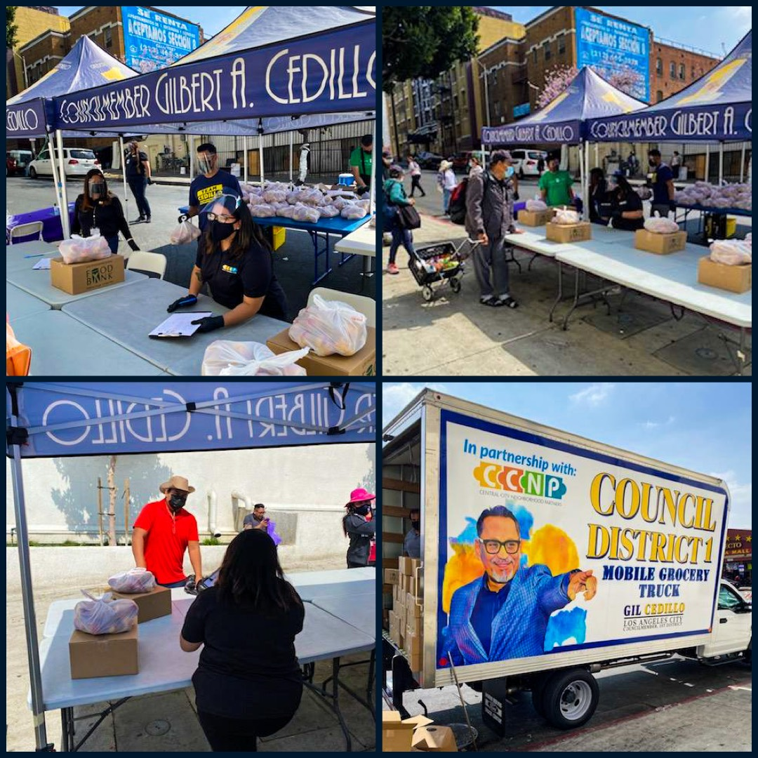 Team Cedillo and CCNP distributed boxes of groceries to hundreds of neighbors in Westlake 4-6-2021 Photo COLLAGE