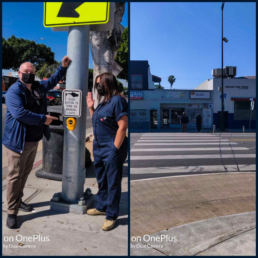 Team Cedillo with Linda Cabon, resident at new pedestrian crossing light Ave 60 & N Figueroa 4-7-2021 Photo COLLAGE