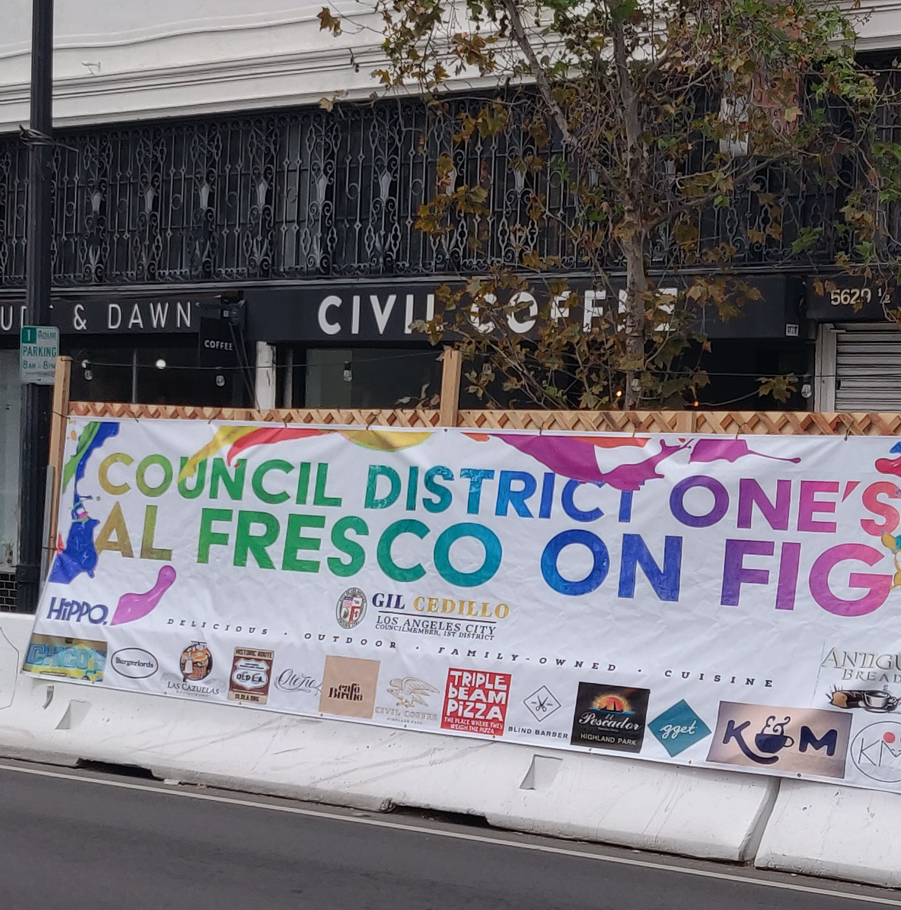 Councilmember Cedillo Installs Streetscapes & Outdoor Dining on N. Figueroa St. in Highland Park 4-14-2021 Photo 1