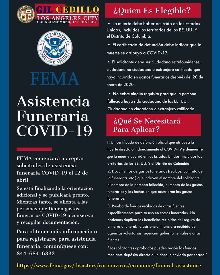 Funeral Assistance Flyer Updated SPANISH 4-8-2021