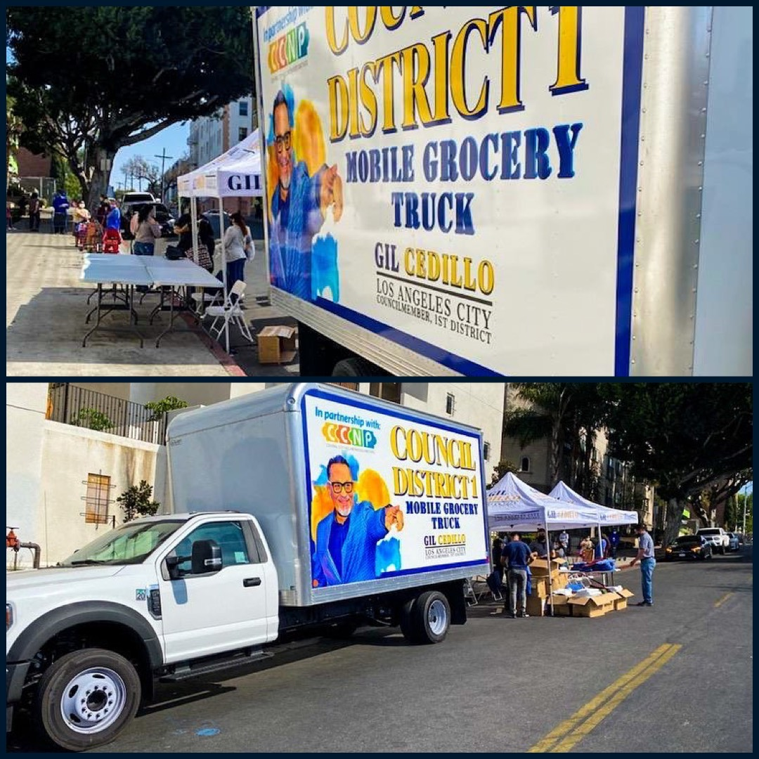 Councilmember Gil Cedillo's Mobile Grocery Truck at Bonnie Brae St. and 6th St in Westlake 4-20-2021 Photo COLLAGE
