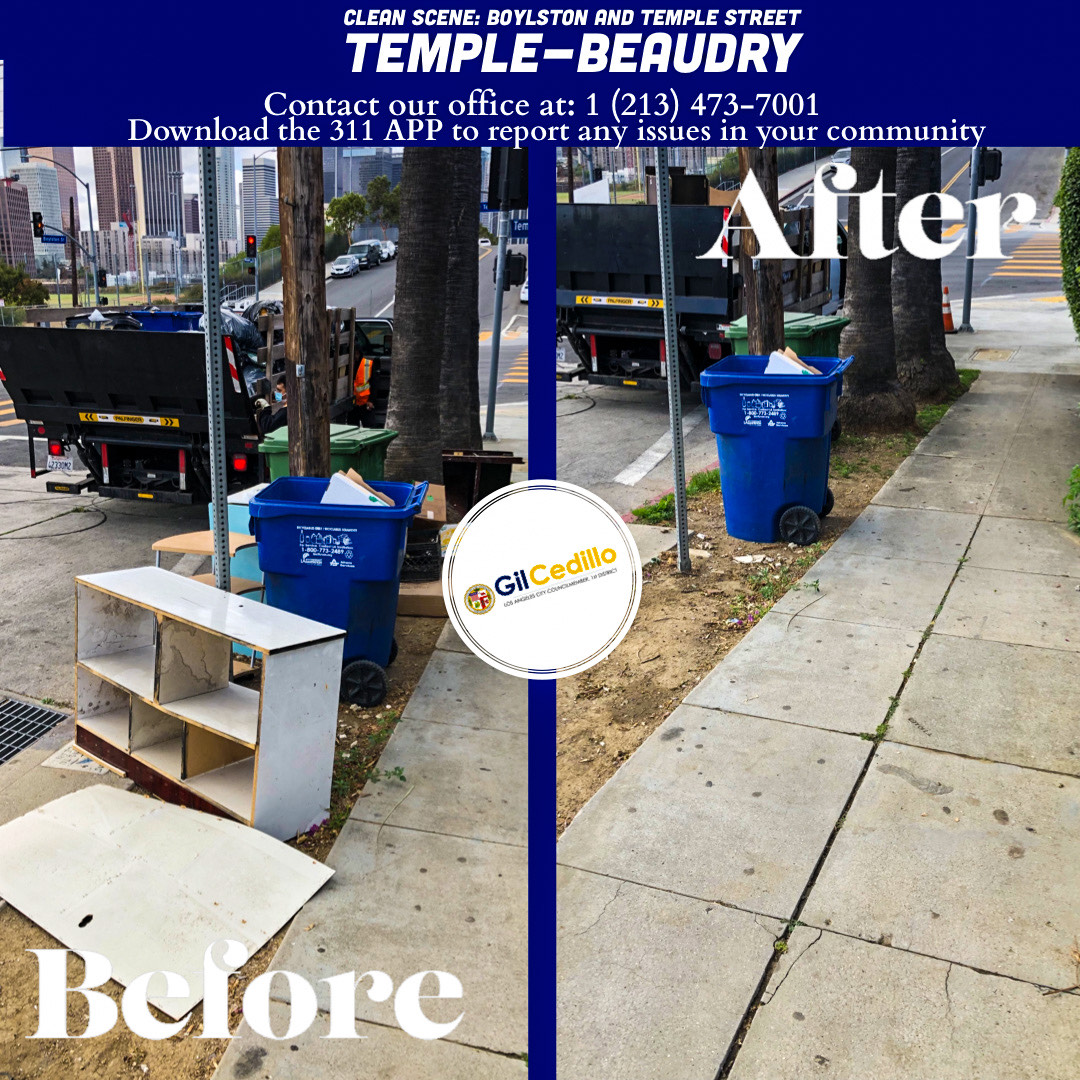 Team Cedillo's Strike Team is in full force today, corner of Boylston and Temple Street in Temple-Beaudry 4-29-2021