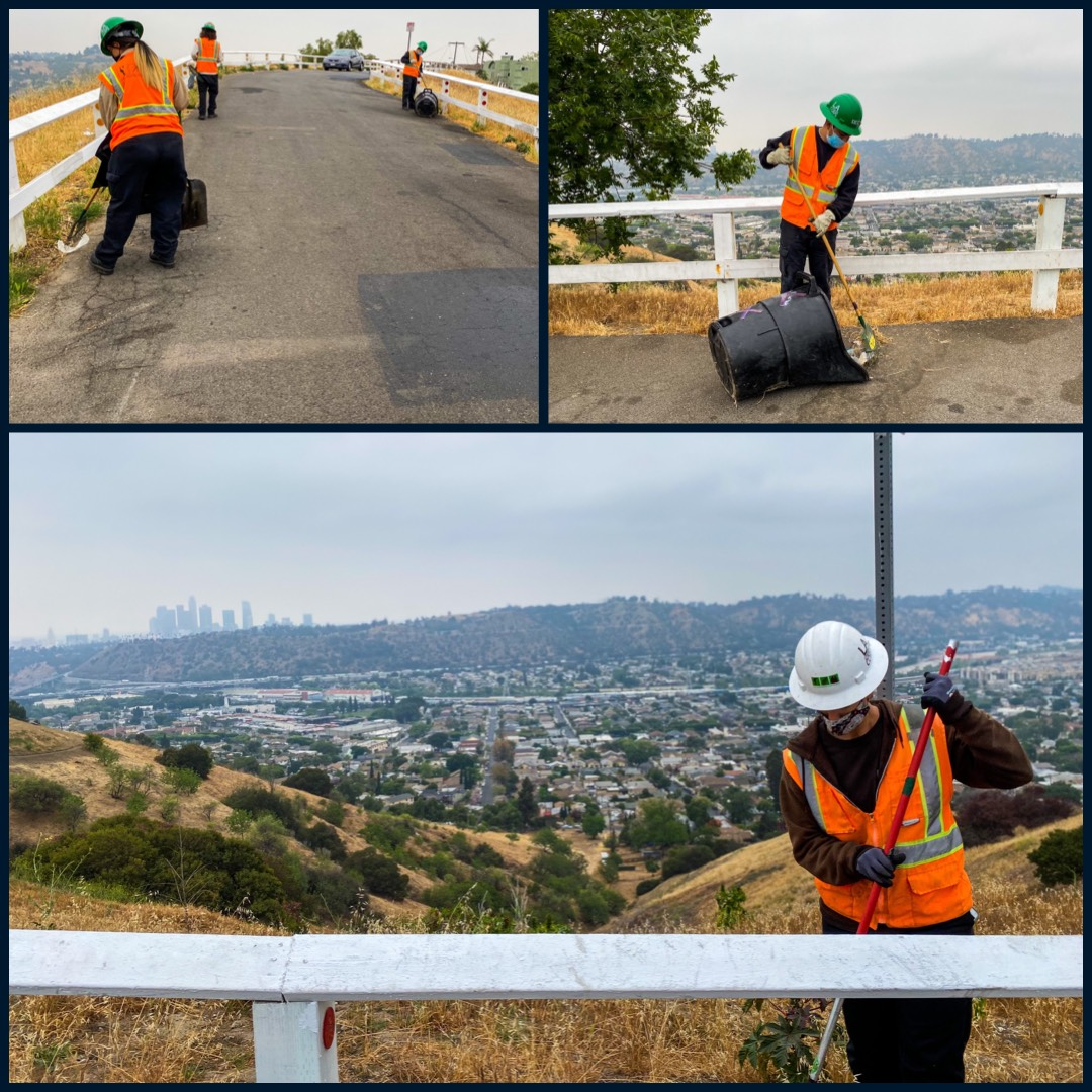 Councilmember Gil Cedillo's Strike Team cleaning the area of Kite Hill in Mt Washington 5-14-2021