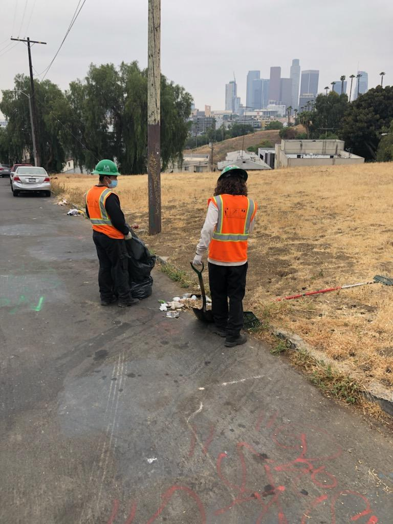Councilmember Gil Cedillo's Strike Team cleaning the area of Lookout Dr in Solano Canyon 5-14-2021 Photo 1