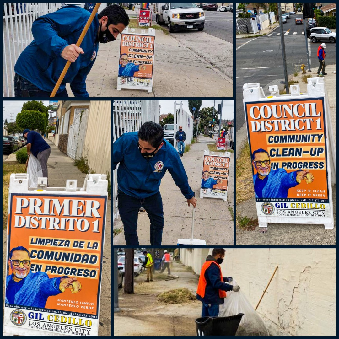 CD1 Community clean up in progress on corner of Figueroa St and Amabel in Highland Park 5-15-2021