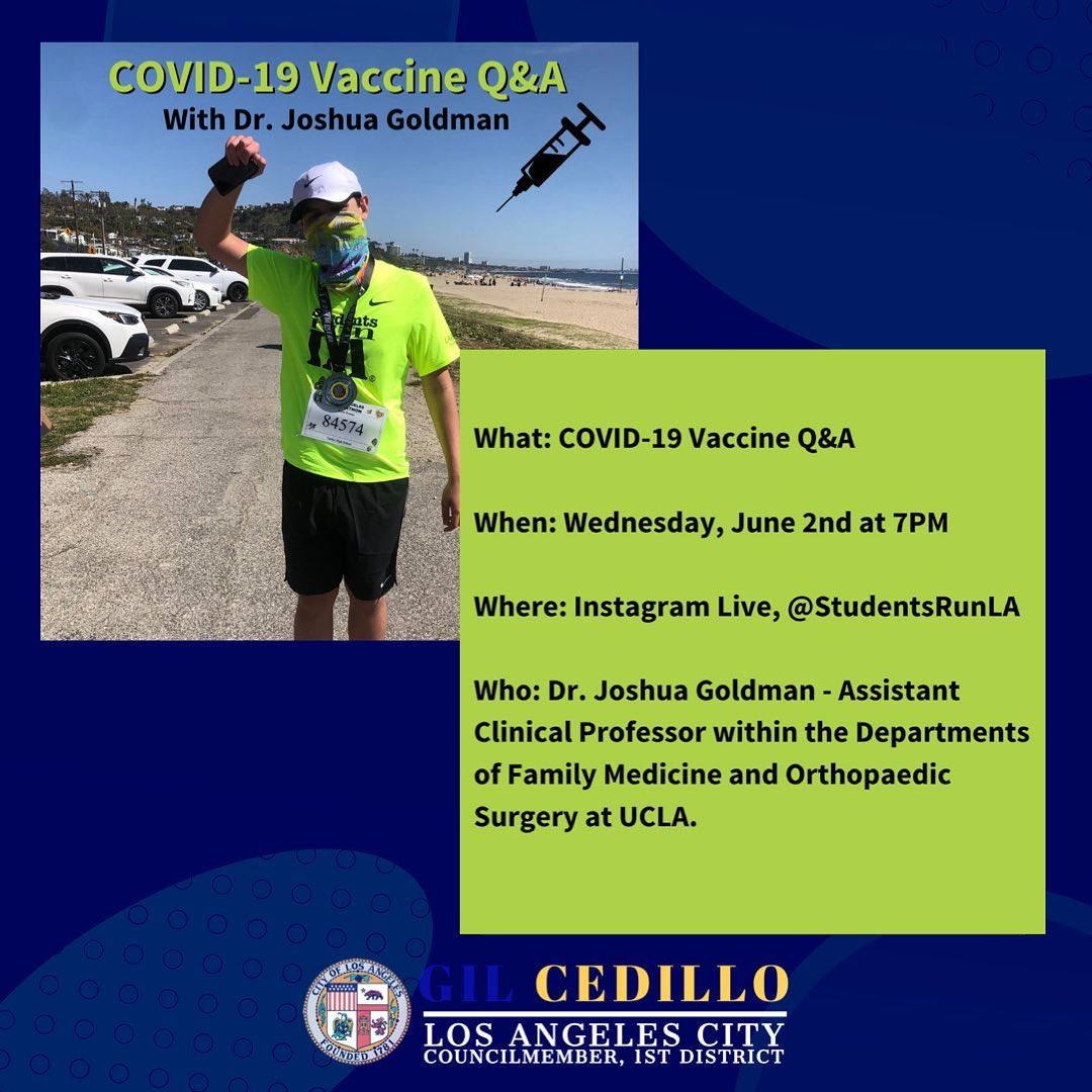 SRLA Medical Director Dr. Joshua Goldman will be answering all your questions about the COVID-19 Vaccine  7-2-2021