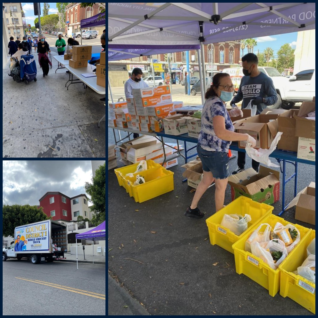 Councilmember Cedillo's Grocery Truck distributed free produce on 8th and Burlington in Westlake 6-9-2021 COLLAGE