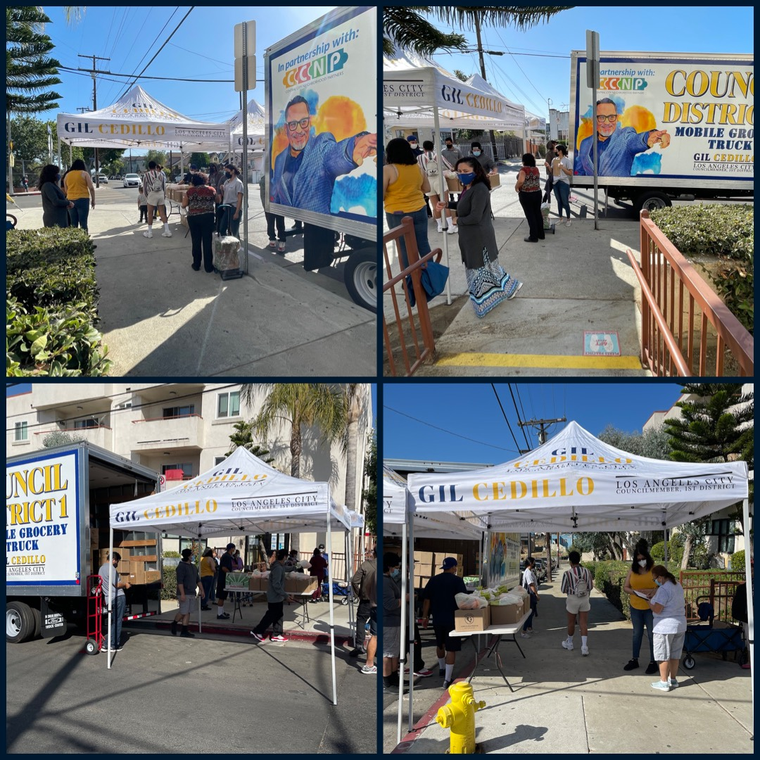 Councilmember Gil Cedillo's Grocery Truck at Edgeware Road and Angelina St in Temple Beaudry 6-11-2021 COLLAGE