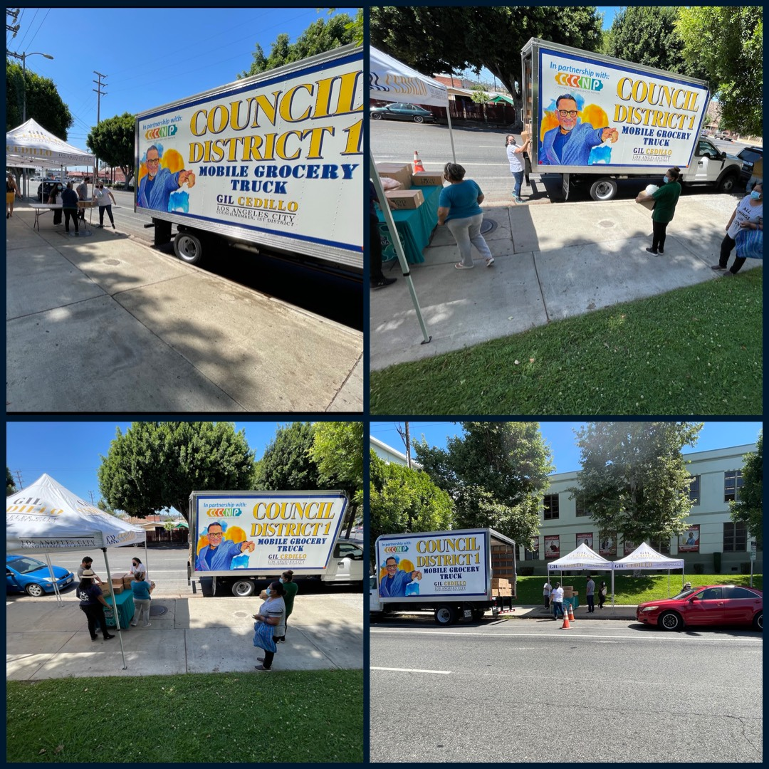 Councilmember Gil Cedillo's Grocery Truck at Figueroa St and Cypress Ave in Cypress Park COLLAGE 6-11-2021