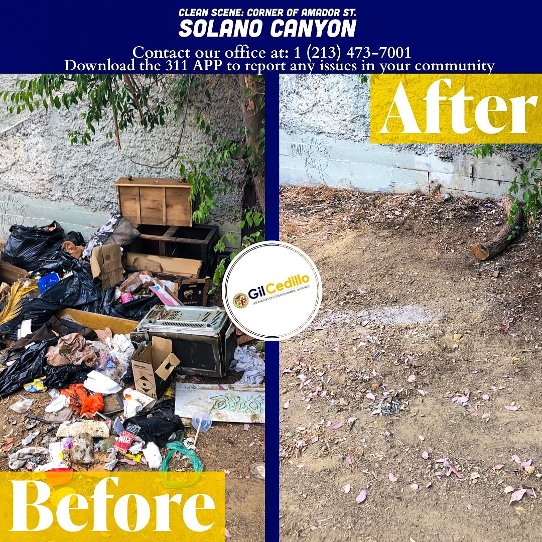 Team Cedillo removed bulky items, trash and debris from the corner of Amador St. in Solano Canyon 6-8-2021
