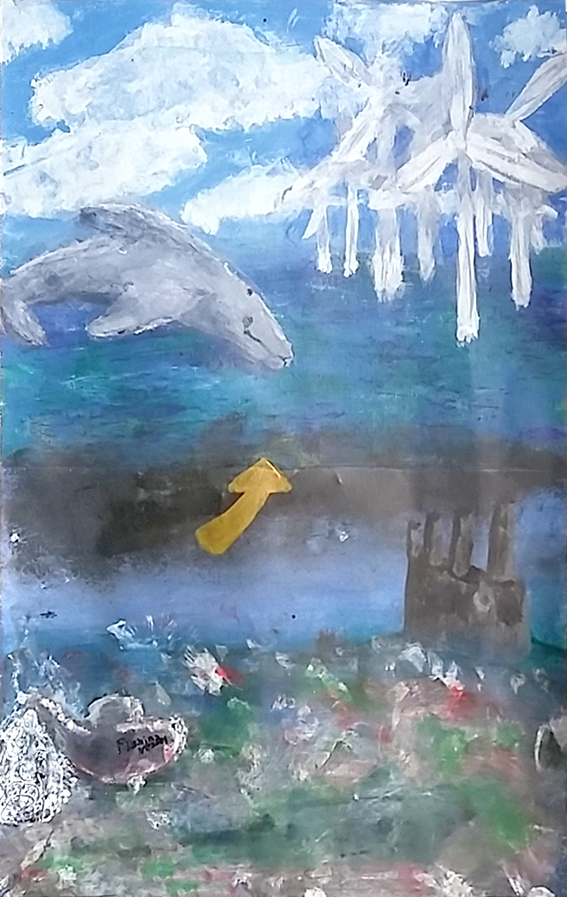 Daisy Barker's Painting - The Ocean and Pollution