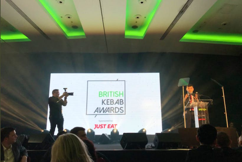 Theresa May steps up to the plate at British Kebab Awards