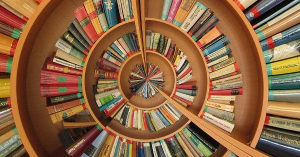A circular bookshelf