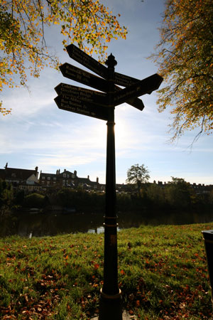 Silhouetted signpost