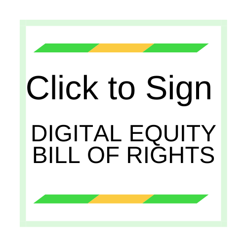 Graphic Link Homepage Internet For All Now to support Digital Equity Bill of Rights