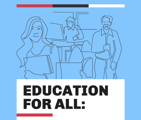 Education for All Report button, with illustrated cover of student, workers, and teachers.