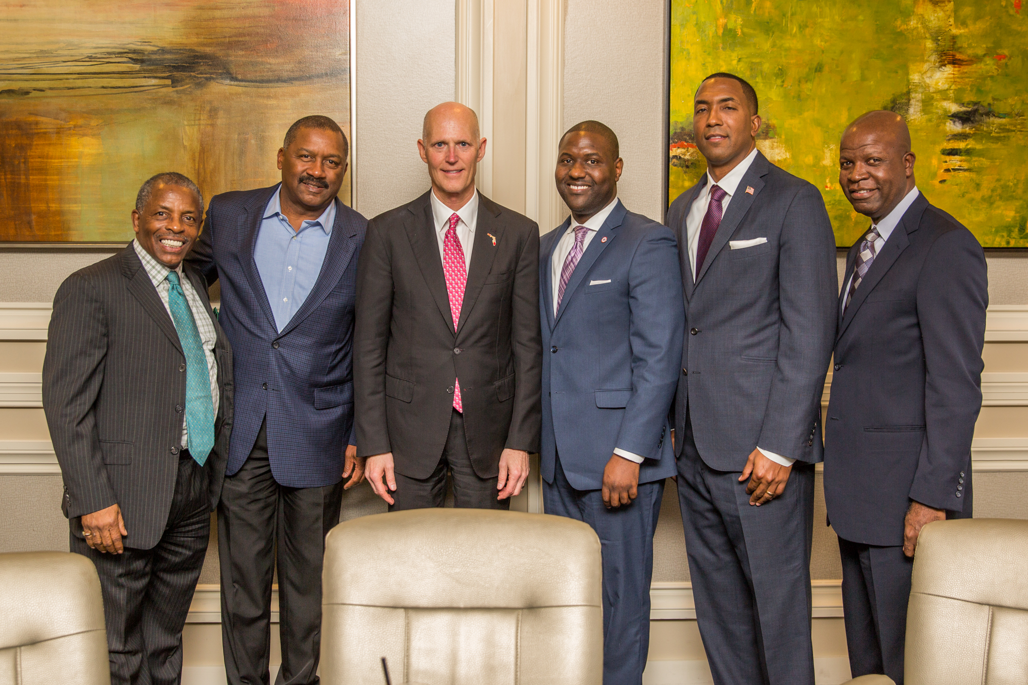 Image: Governor Rick Scott, Glenton Gilzean Jr., President and C.E.O. of the CFUL, Wesley Harris, Chairman, CFUL Board of Directors; Terry Prather, CEO, Seaworld (Retired); Larry Mills, Past President, African–American Christian Clergy Coalition; Kevin Edmunds; Deputy Chief Administrative Officer, City of Orlando and Leonard Spencer.