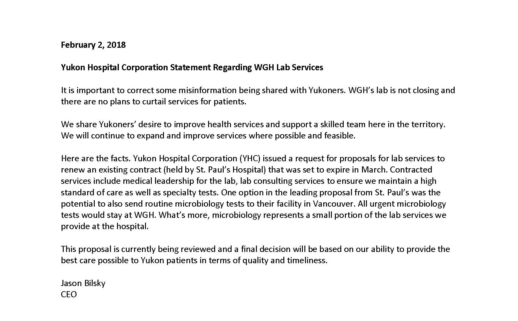 Hospital Plans to Contract Out Microbiology Testing to BC - Yukon
