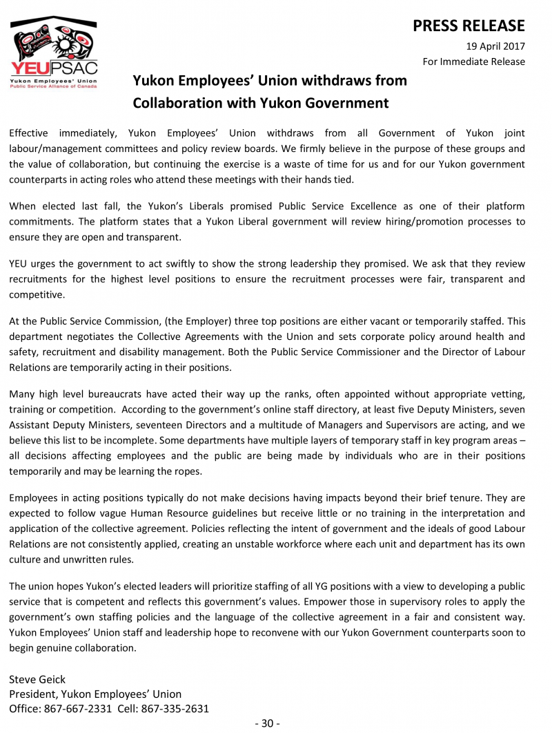 Yeu Withdraws From All Collaboration With Government Of Yukon