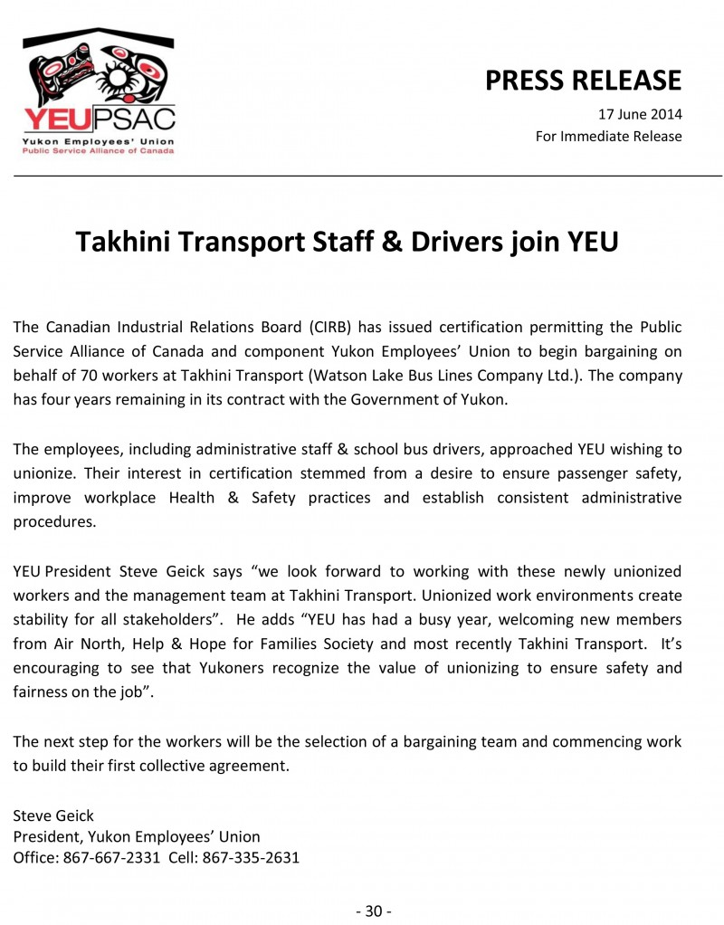 Takhini Transport Certifies PRESS RELEASE