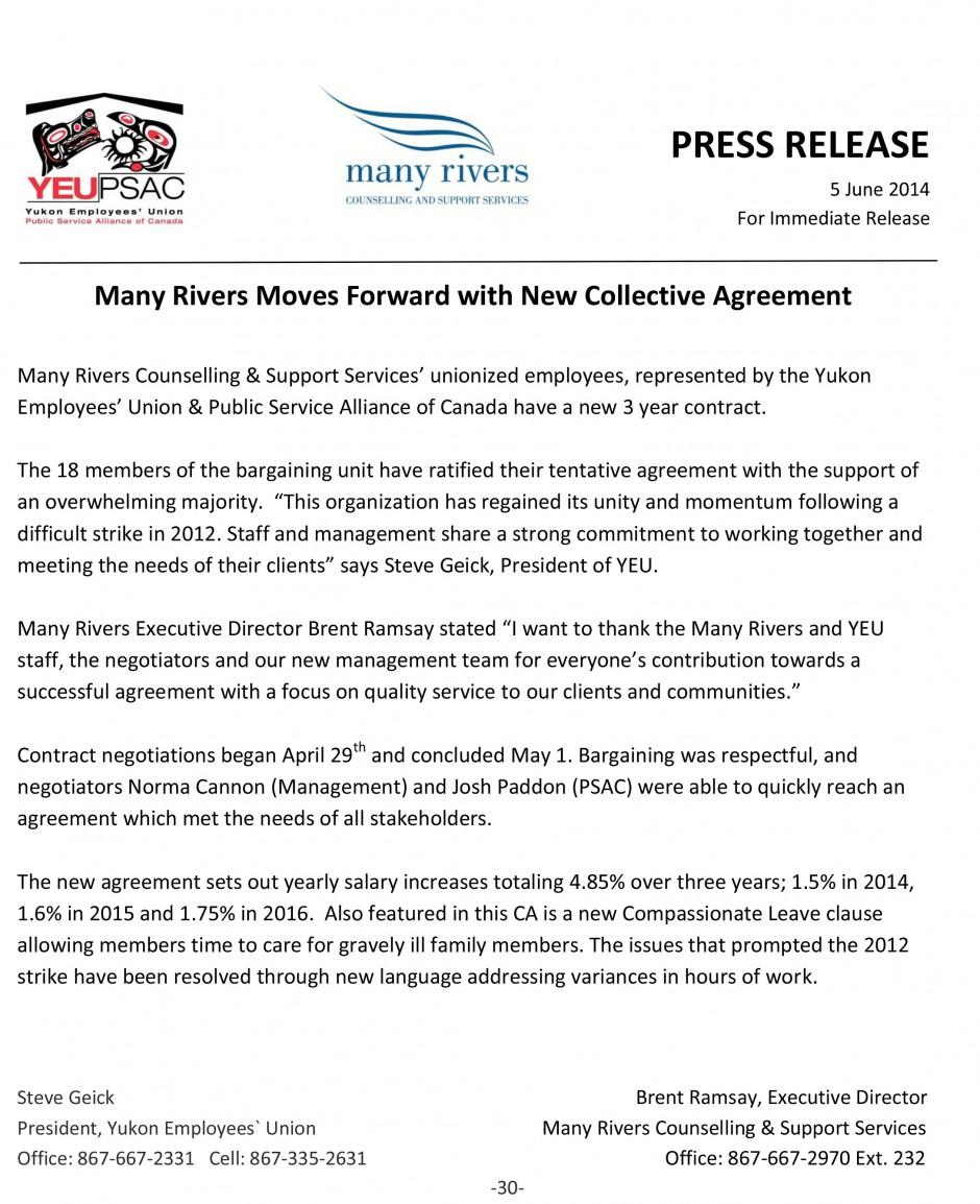 Many Rivers Ratification 2014 joint Press Release