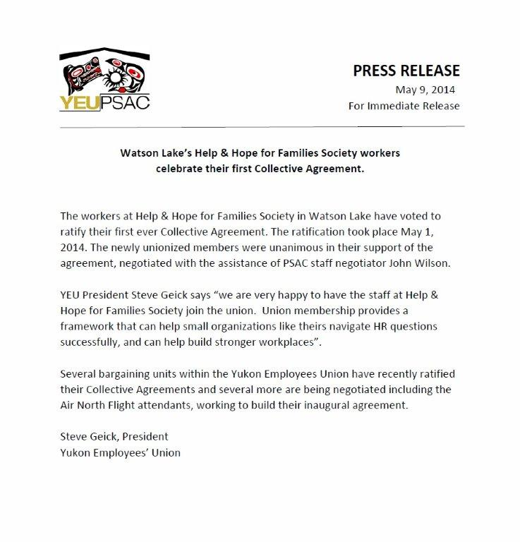 Press Release for H&HFF Watson Lake